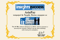 AsiaPay was recognized as one of the The 30 Most Admired Companies of the Year 2016 by Insight Success
