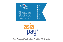 AsiaPay receives Singapore Business Award (Best Payment Technology Provider 2018 - Asia) in Singapore.